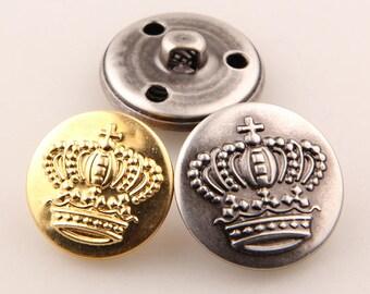6 Pcs 0.59~0.98 Inches Retro Gold/Anti-silver/Gun Big Crown Metal Shank Buttons For Coats