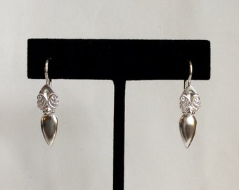 Sterling Silver Etched Tear Drop Earring