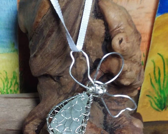 White Sea glass angel - Silver Guardian Angel Ornament - Angelic Gift - South Shore Beach Glass by Goofy Moose
