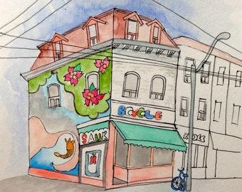 Urban Sketching of Toronto-Canada,  original watercolor painting, 19cm x 25 cm