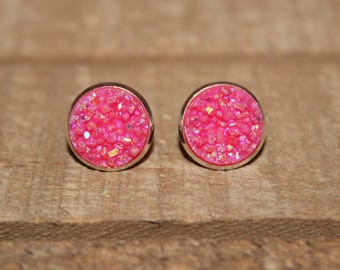Hot Pink Druzy Earrings - 12mm
