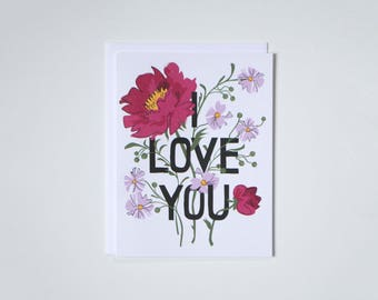 I Love You Note Card - Bouquet of Flowers