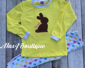 Monogrammed Applique Polka dot Spring pjs -  Easter Bunny Pajamas - personalized kids pajamas