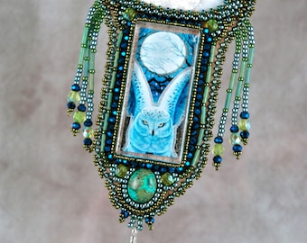 Necklace, Beaded, Bead embroidered, owl, blue, green, feather Embroidered Necklace