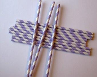 25 Paper Lavender & White Striped Straws - Free Printable Straw Flags