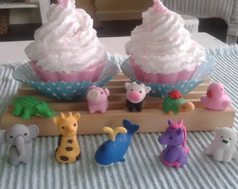 Soap cupcakes with Toys, Soap Favors