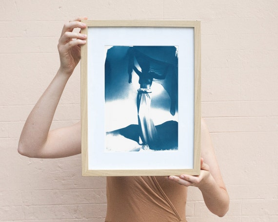 Fashion Photograph of Girl with Veil from Mid-Century, Cyanotype Print on Watercolor Paper, A4 size (Limited Edition)