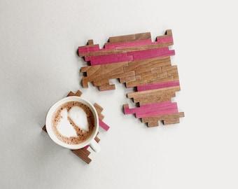 Modern Jigsaw Coasters - Interlocking Puzzle Coasters - Geometric - Unique Wood - Puzzle Piece - Wooden Puzzle - Home Decor - Set of 4