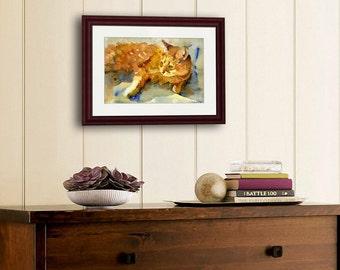 Orange ginger Tabby Cat | watercolor painting | cat art | cat print | cat lovers gifts | watercolor animals | animal art | animal artwork