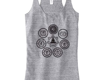 Chakra Yoga Top For Women, Yoga Top, Yoga Tank, Yoga Gift for Mom, Yogawear, Yoga Clothes