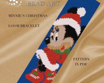 LOOM pattern for bracelet - Minnie's Christmas loom bracelet pattern cuff pattern in PDF - instant download