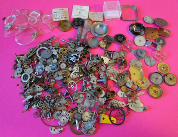 Large Selection of Assorted Vintage Pocket and Wrist Watch Parts & Hardware for your Watch Projects, Steampunk Art, Jewelry Making and etc..