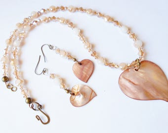 Shell Heart Necklace Earring Set ONE OF A KIND