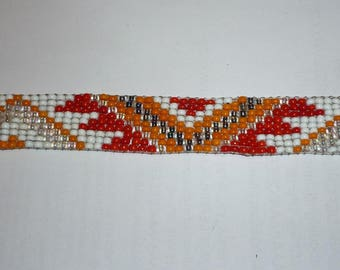 Beaded bracelet, woven fancy / ethnic, orange red