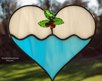 Stained Glass Christmas Cookie Suncatcher, Frosted Sugar Cookie with Holly Berries, Blue Heart Shaped Sun Catcher, Glass Christmas Ornament