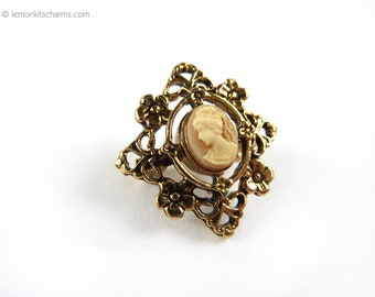 Vintage Cameo Flower Scatter Pin, Small Lapel Brooch, Jewelry 1960s Mid-century, Victorian Style, Antique Goldtone