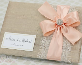 Wedding Guest Book Champagne Peach Custom Made in your Colors