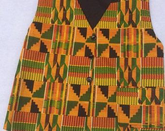 African Kente Fabric Men's Vest