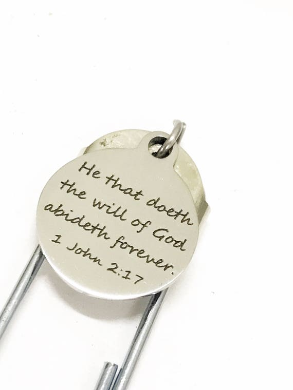 Christian Planner Bookmark, He That Doeth The Will Of God Abideth Forever Bookmark, Planner Gifts, Christian Gift, Christian Bible Bookmark