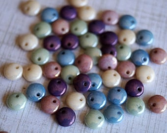 6mm Lentil Beads - Opaque Pastel Luster - Picasso Czech Glass Beads - Lentil Mix - Czech Lentil Beads - Bead Soup Beads