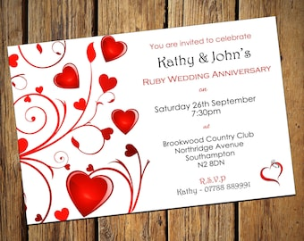 40th anniversary invitations etsy 40th ruby wedding anniversary party invitations stopboris Gallery