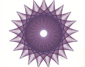 Purple Geometric, Abstract Art, Minimal Geometric Original Drawing, Hand Drawn Fine Art, Original Ink Drawing 8x8