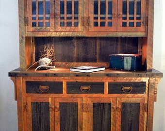 cabinet dining reclaimed hutch il rustic listing wood barnwood buffet china furniture room