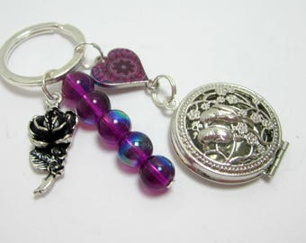 Locket Keychain Birds in Trees Silver Diffuser Locket Purple Heart Connector Rose Charm Purple AB Beads 299