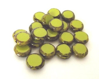 Czech Glass Beads, Chartreuse Travertine Table Cut Round Beads, 10mm - 10 beads