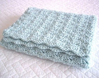 Teal Mint Baby Blanket Throw Afghan Crochet Shell Stitch Car Seat Stroller Size Ready to Ship Shower Gift Lovie