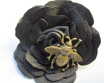 Black leather corsage, bee corsage, gift for bee lovers, quirky leather corsage, black leather flower with bee, handmade corsage, Ruby62