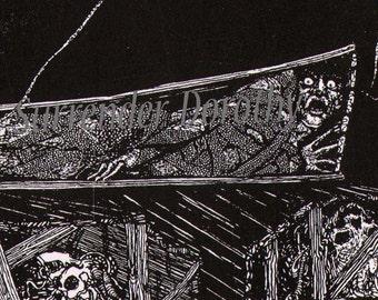 Edgar Allan Poe Premature Grave Harry Clarke 1930s Vintage Horror Illustration To Frame Black & White