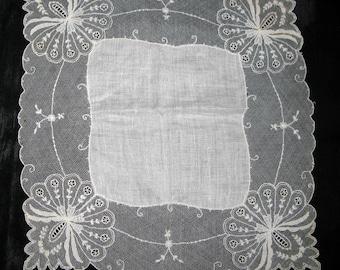 Gift for Bride Handkerchief, Ivory Lace Bridal Hankies Vintage Hankerchief