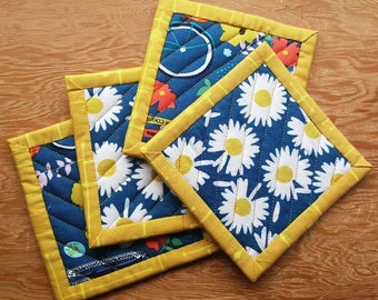 Quilted Coaster Set - Summer, Daises, Bicycles, Flowers