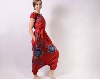 Harem pants jumpsuit - Overalls - Women - loose jumpsuit - dungarees - Trance Jumpsuit - Hippie Jumpsuit - Pixie Dungarees - Red Dungaree