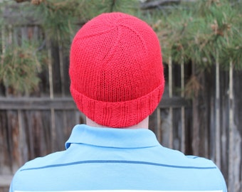 SALE - Handknit Classic Beanie with Rolled Brim in True Red