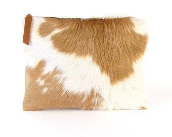 Brown and Ivory Hair on Hide Purse ~ Pony Hair Clutch
