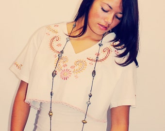 Mexican Blouse, Mexican Shirt, Upcycled Top, Crop Top, Embroidered Shirt, Mexican Embroidery, Bohemian, Upcycled Clothing, Mexican Clothing