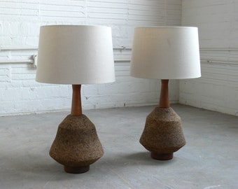Mid Century Modern Martz Styled Cork & Wood Table Lamps (Pair)