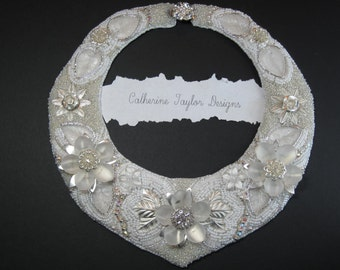 "Bead Embroidery Bib Necklace ""The White Enchantress "" EBEG Team Bead Fest 2 Filigree"