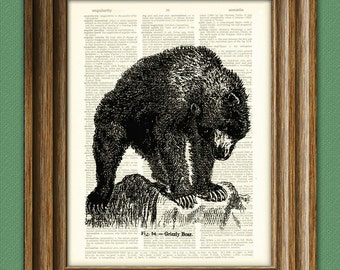 Cool GRIZZLY BEAR illustration beautifully upcycled dictionary page book art print