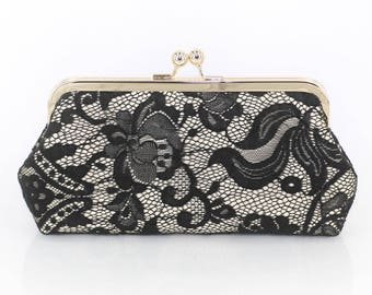 Black Rose Lace on Champagne Satin Clutch | Gift to Mother, Bride, Bridesmaids