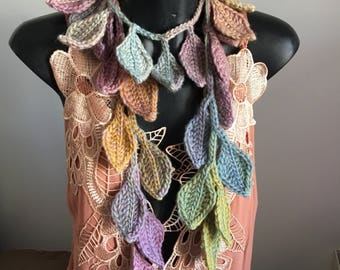 Crocheted leaf scarf