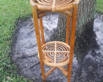 STAND By Your PLANT / Fun Two Level Circular Rattan Plant Stand / Bohemian Decor / Albini Style