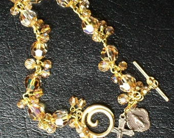 Swarovski Gold Rosary Bracelet with bangles, wire-wrapped, Catholic, Unbreakable