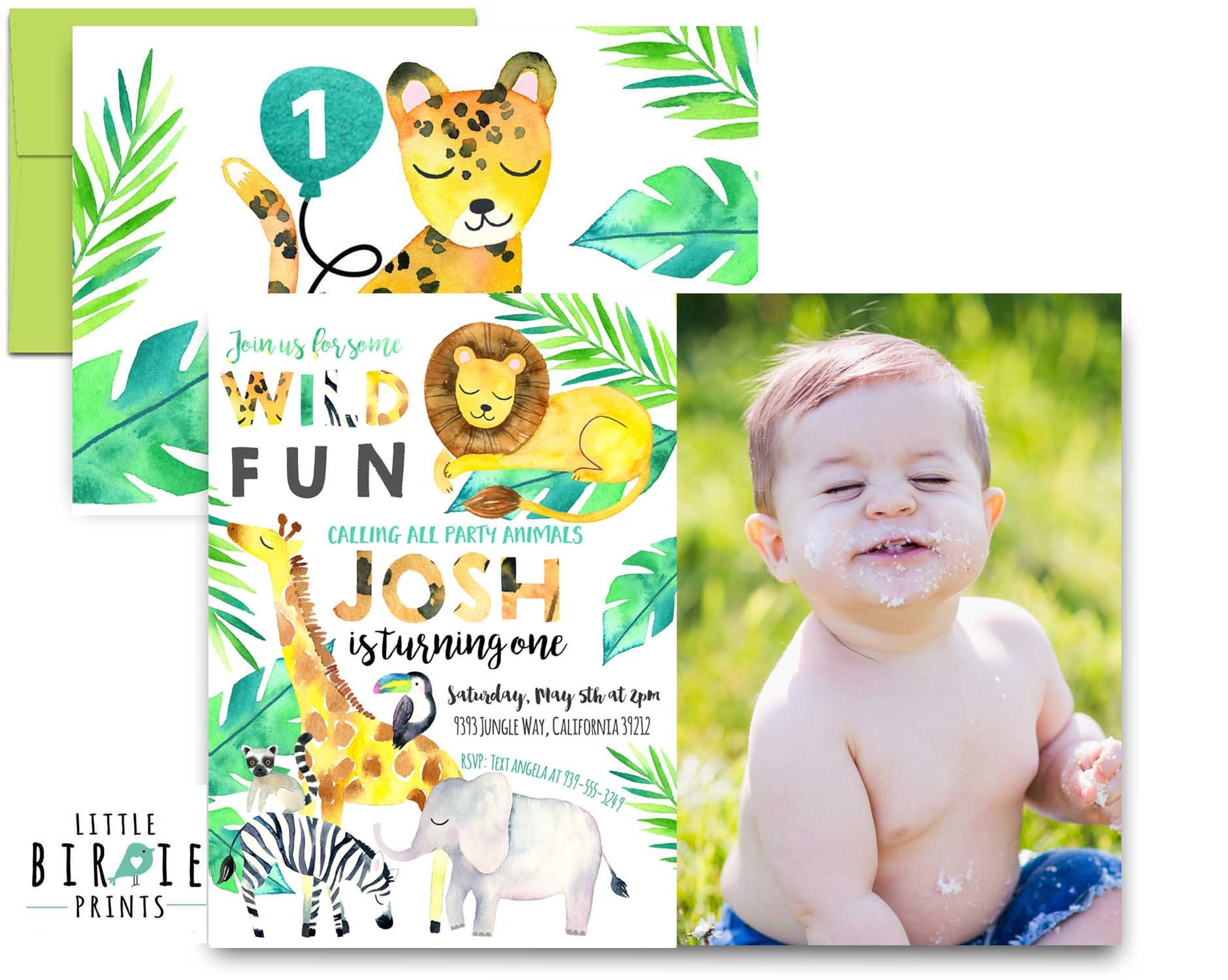 JUNGLE Birthday Party Invitation WILD ANIMAL birthday party