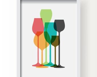 Modern Wine Glass Decor, Colorful Wine Glass Poster, Wine Poster, Wine glass, Wine kitchen decor, Wine print, Wine poster, Wine wall art