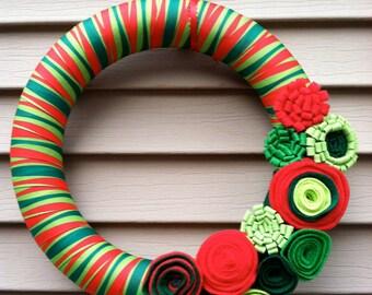 Modern Christmas Wreath, Modern Wreath, Felt Flower Wreath, Holiday Wreath, Christmas Wreath, Holiday Felt Wreath, Striped Wreath, Ribbon
