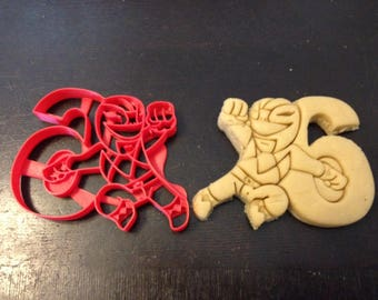 Power Rangers Cookie Cutter next to the number 6. Perfect for your kid's 6th year birthday party. Celebrate their sixth with the rangers!