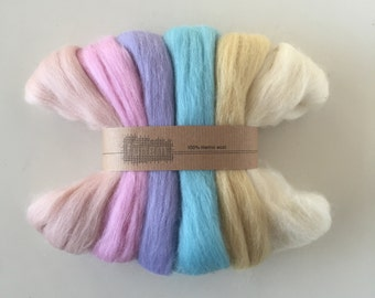 Merino Roving Pastels / Wool Roving / Lontwol